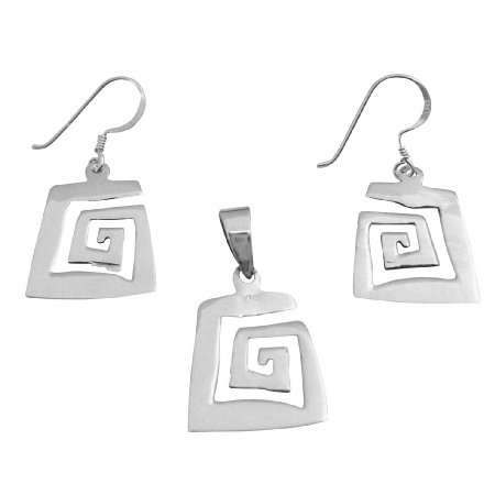 SPEN044 Sterling Silver Pendant & Earrings Set Affordable Pendant & Earrings Set Jewelry