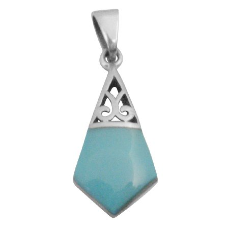 SPEN033 Sterling Silver Pendant Green Turquoise Inlaid Pendant Artistically Designed Pendant