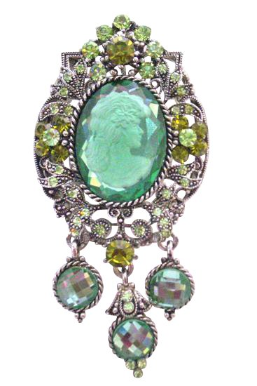 B373 Oxidized Framed Lady Cameo Brooch Sparkling Peridot Crystals Olivine Lady Cameo Photo