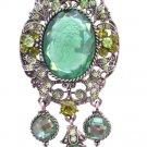B373 Oxidized Framed Lady Cameo Brooch Sparkling Peridot Crystals Olivine Lady Cameo Photo