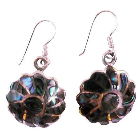 SER084  Rainbow Abalone Flower Earrings With Silver Stripe