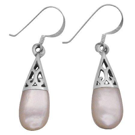 SER090  White Opal Inlay Teardrop Earrings Girl Friend Gift