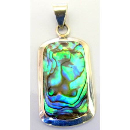 SPEN078  Holiday Gift Sterling Silver Abalone Square Pendant