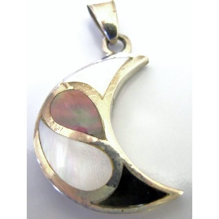SPEN079  Moon Sterling Silver Pendant Mother Of Pearls Pendant