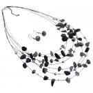 NS1010  Looking For Multi Strands Necklace Earrings In Amethyst Beads Nuggets Jewelry Gift