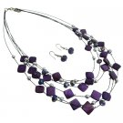 NS1012  Purple Sequare Beads Silver Beads Multi Strand Necklace Earrings Set Bridemaids Gift