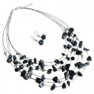NS1006  Wedding Gift Multi Strand Necklace Set Black Agate Silver Beads Jewelry Set