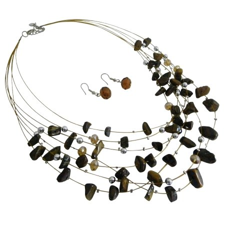 NS1008  Golden Tiger Nuggets Silver Beads Jewelry Set Multi Strand Gold Wire Illusion Set