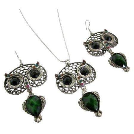 NS1128  Oxidized Owl Pendant Earrings Set Green Enamel Body Black Eyes