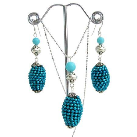NS1101  Studed Bead Embedded Oval Pendant Earrings Ethnic Jewelry Set