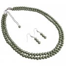 NS1120  Meaningful Gifts Party Favors Wholesale Green Pearls Necklace Set