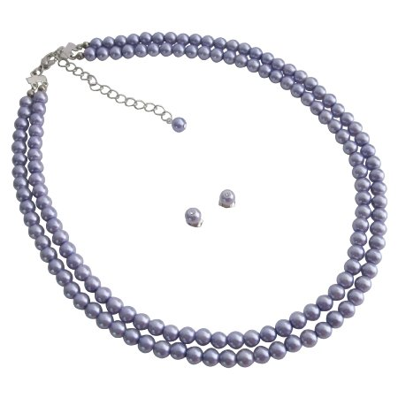 NS1109  Beautiful Luster Glass Pearls Purple Double Stranded Necklace Stud Earrings Set