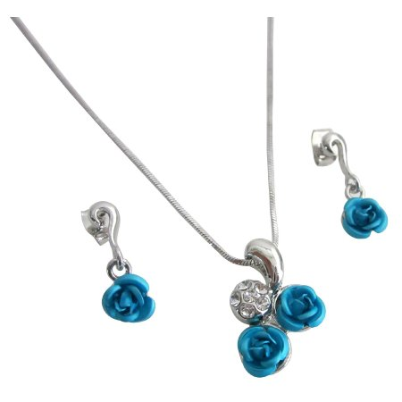 UNS085  Christmas Gift Idea With Gift Box Turquoise Rose Diamante Pendant Set