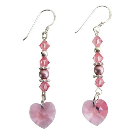 Valentine Gift Love Rose Crystals Heart Earrings