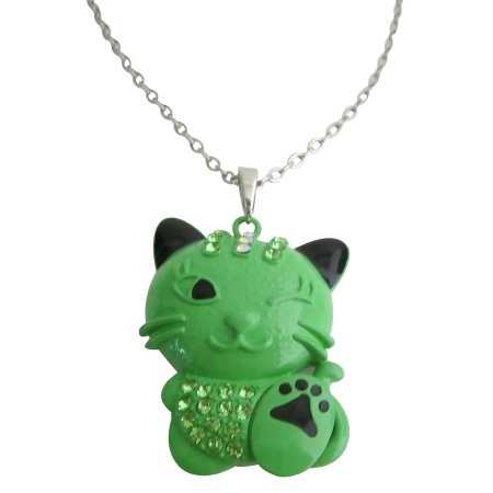 Cute Cat Pendant Necklace Green Cat Pendant