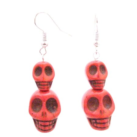 Find Great Deal Free Shipping Coral Skull Bead Earrings