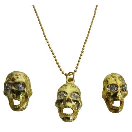 Inexpensive Classic Gold Skull Pendant Earrings Halloween Chic Gift