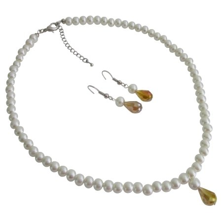 Free Shipping In USA Wedding Bridesmaid White Pearls Jewelry