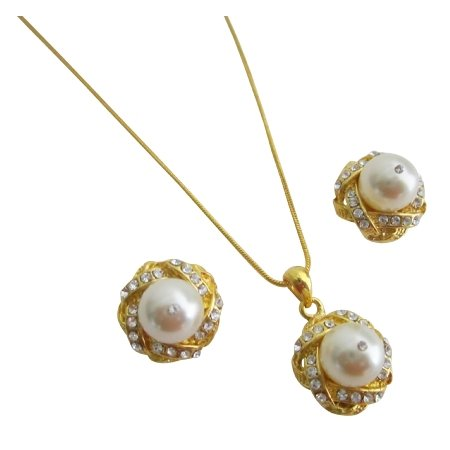 Exquisite Cream Pearls Adorned High Gold Accessories Necklace Earrings
