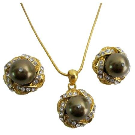 Wholesale Elegant Bridal Prom Evening Jewelry Brown Pearls Set