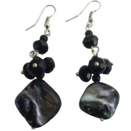 Shell Black Beads Cluster Earrings Nickel Free Fun Wearing