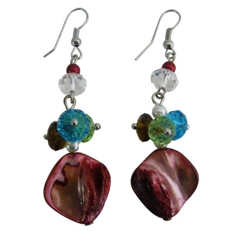 Beautiful Unique Shell Multicolor Beads Cluster Earrings
