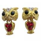 Golden Owl Dangling Body Earrings