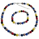 Multicolor Faceted Beads Necklace And Bracelet Birthday Return Gift
