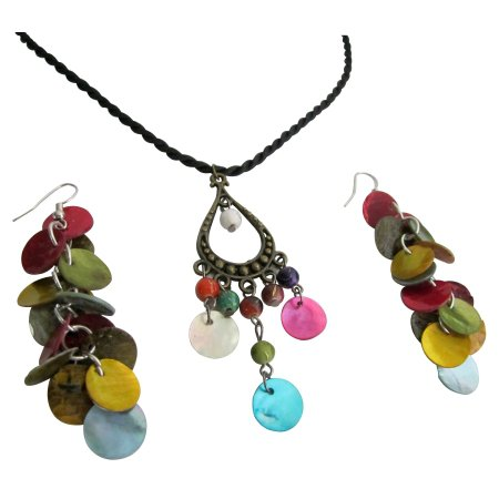Multicolor Shell Dangling Pendant & Earrings Set Budget Jewelry