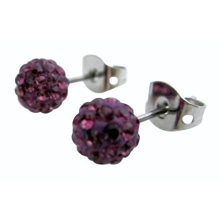 Trendy Fashion Amethyst Pave Ball Earrings