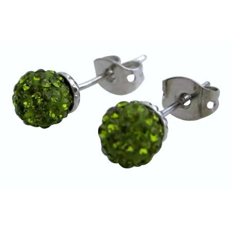 Wedding Olivine Pave Ball Stud Earrings