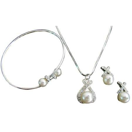 Custom Wedding Jewelry Necklace Earrings Cuff Bracelet In White Pearls