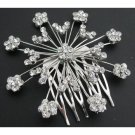 Fabulous Silver Sparkling Wedding Hair Barrette Cubic Ziron & Rhinestones
