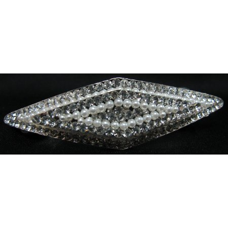 Diamond Shape Hair Barrette White Pearls Clear Rhinestone Hair Clip