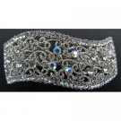 Sparkly Wave Shaped Clear Crystals Hair Barrette Very Affordable