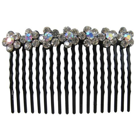 Bridal Hair Accessories Clear Crystals Flower Comb Barrette