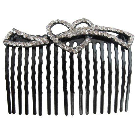Vintage Rhinestone Heart Hair Comb Holiday Gift