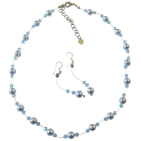 BRD441 Handcrafted Custom Jewelry Swarovski Blue Pearls Aquamarine Crystals Complete Set w/Bracelet