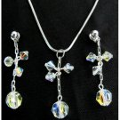 Prom Jewelry AB Crystal Dangling Pendant And Earrings Set