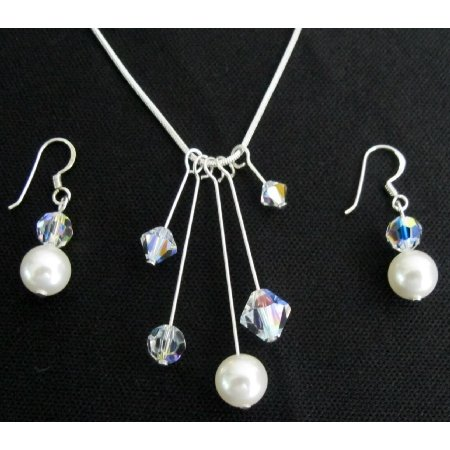 Mother's Gift On Her Special Day White Pearl AB Crystal Tinkerbell Set