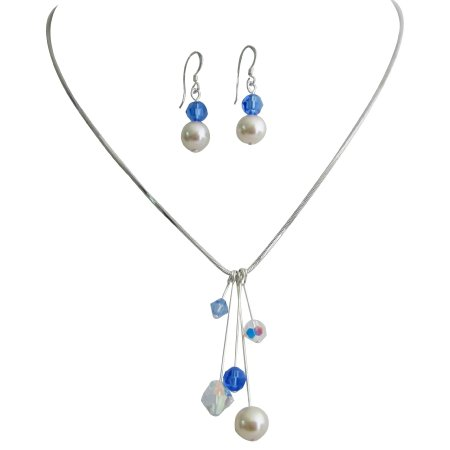 Tinkerbell Necklace Earrings AB Sapphire Crystals Ivory Pearls