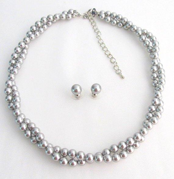 BRD1224 Designed Jewelry Soft Elegant Silver Gray Twisted Double Stranded Swarovski Pearls