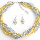NS1328 Yellow Gray Pearls Twisted Necklace Earrings Wedding Bridesmaid Necklace Bridal Gift