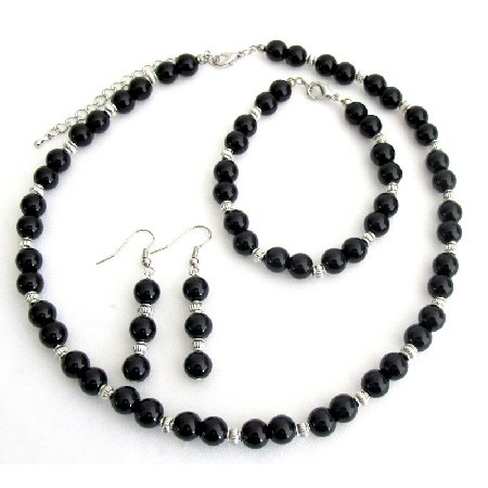 NS1350 Alluring Jewelry Black Pearls And Silver Spacer Wedding Jewelry Set