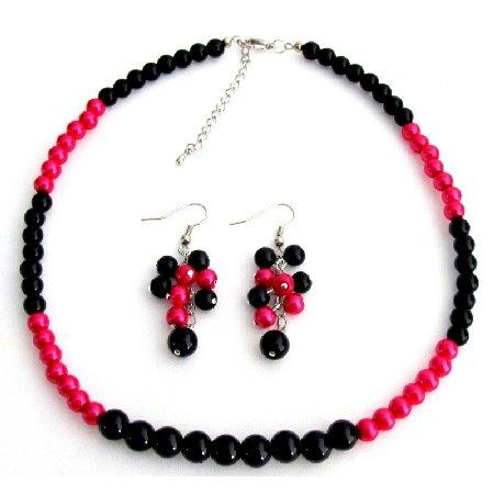NS1343 Fascinate Wedding Jewelry In Magenta Black Pearl With Grape Earrings Set