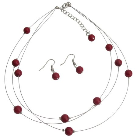NS1277 Red Floating Pearls Necklace and Earrings Set Three Stranded Necklace