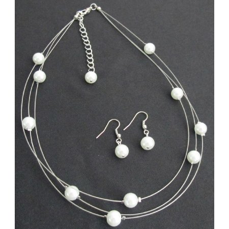 NS1281 Bridal Jewelry White Pearls Floating Gorgeous Necklace Earrings