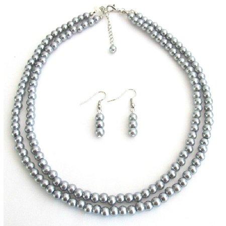 NS1356 Bridal Pearl Jewelry Set Lite Gray Double Strand Earrings Set