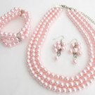 NS1346 Bridal Jewelry Pink Pearls Three Strands Necklace Bracelet Bridal Jewelry Set