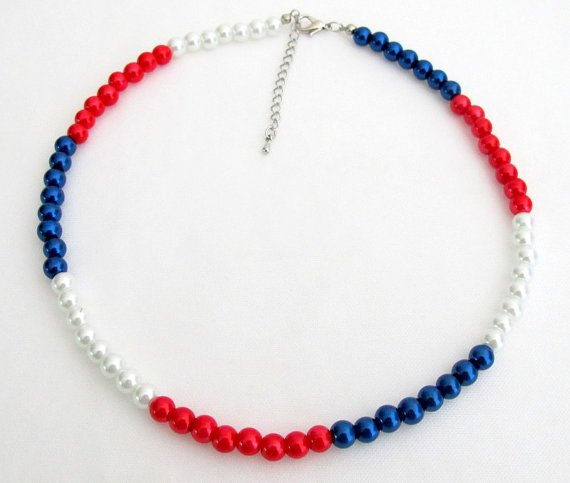 UNE395 Red White and Blue Necklace Patriotic Jewelry Independence Day jewelry